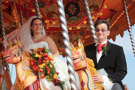 Bride and Groom on the Carousel