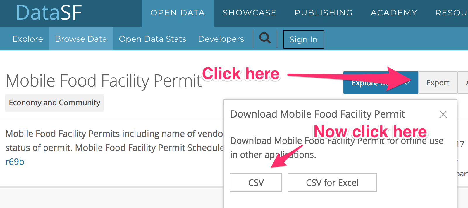 How to download CSV from data.sfgov.org