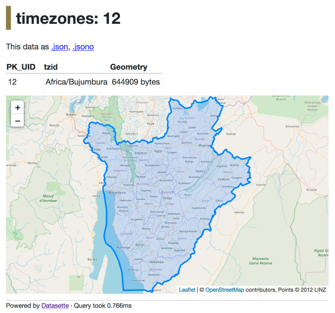 Building a location to time zone API with SpatiaLite OpenStreetMap