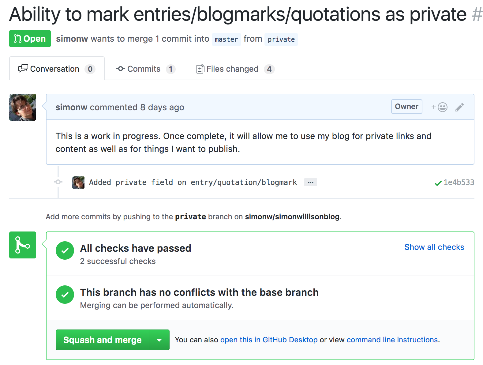 GitHub pull request showing CI results