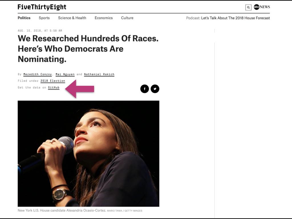 Same FiveThirtyEight article - an arrow highlights the Get the data on GitHub link
