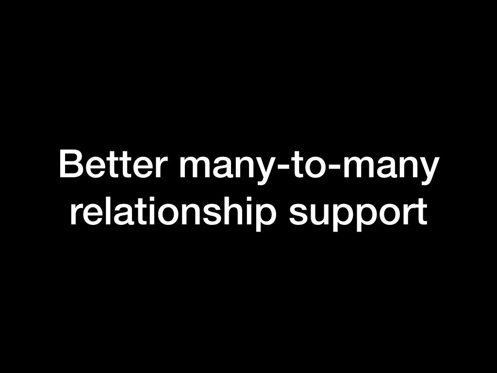 Better many-to-many relationship support