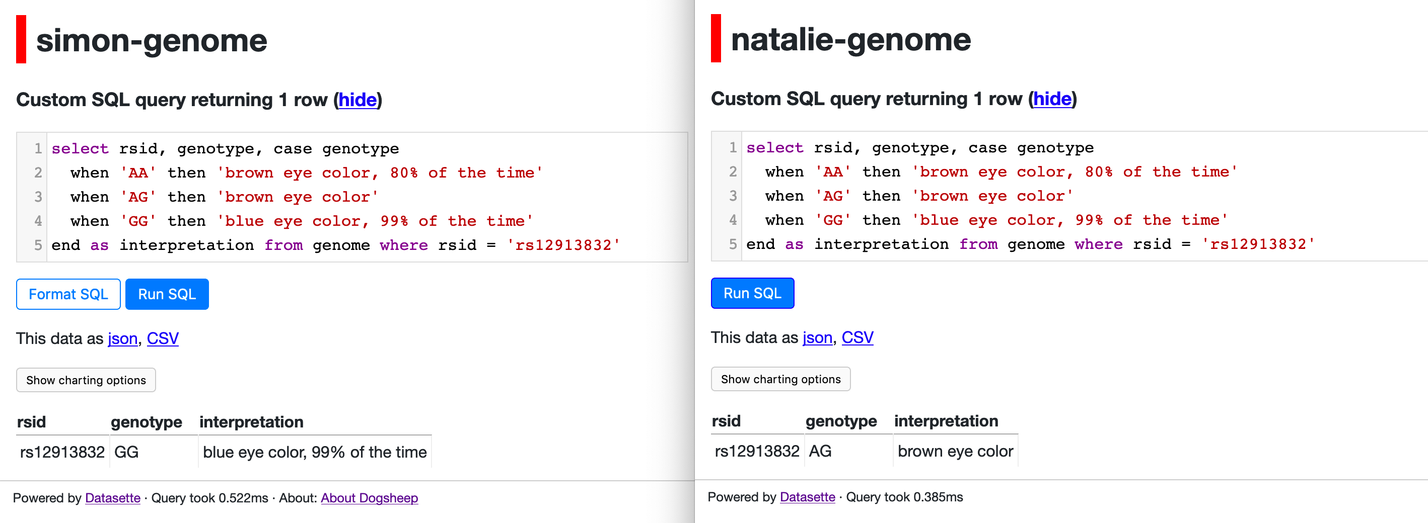 Running SQL against my genome and Natalie's genome
