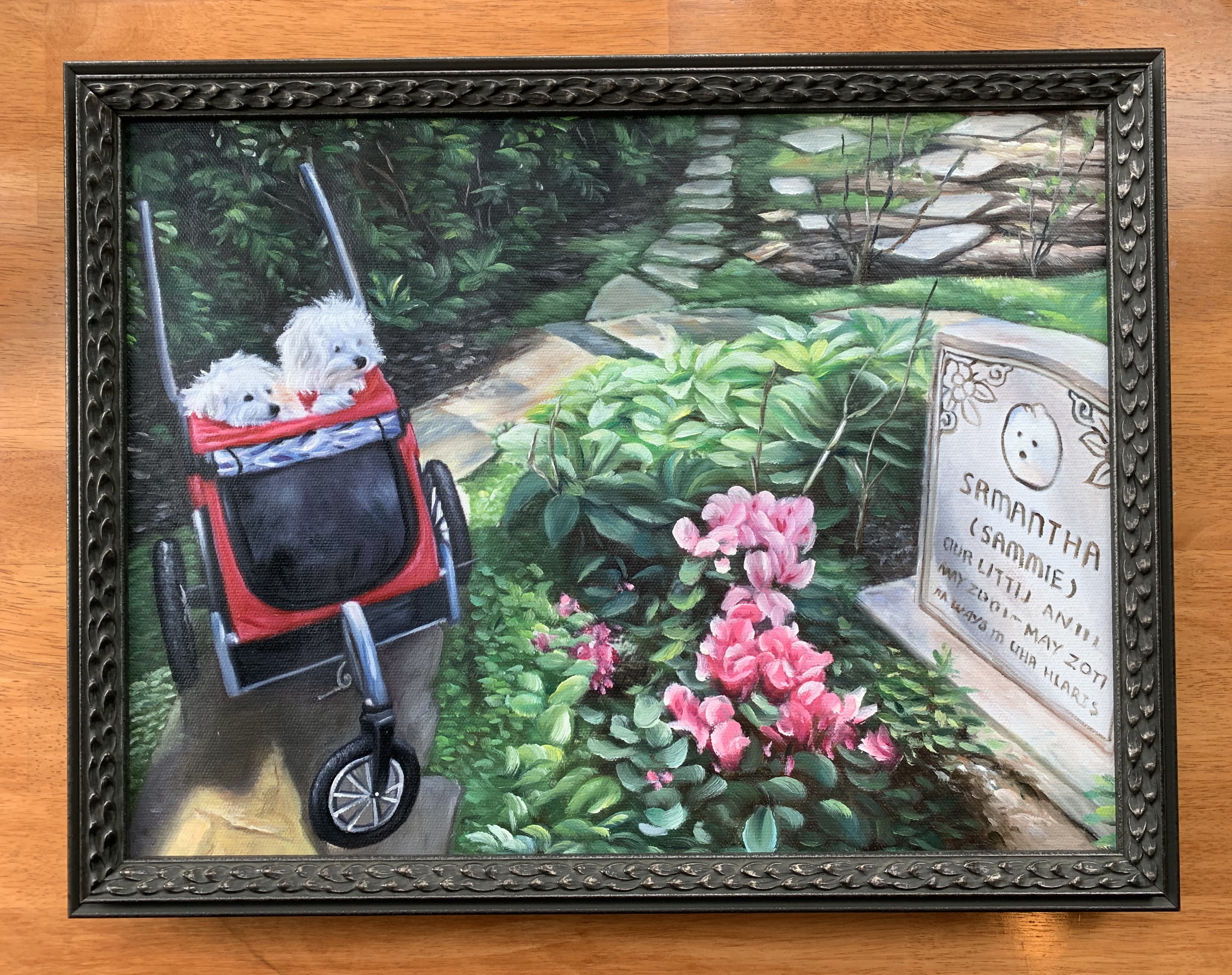 Two dogs in a stroller looking at a gravestone, as an oil painting in an intimidating frame