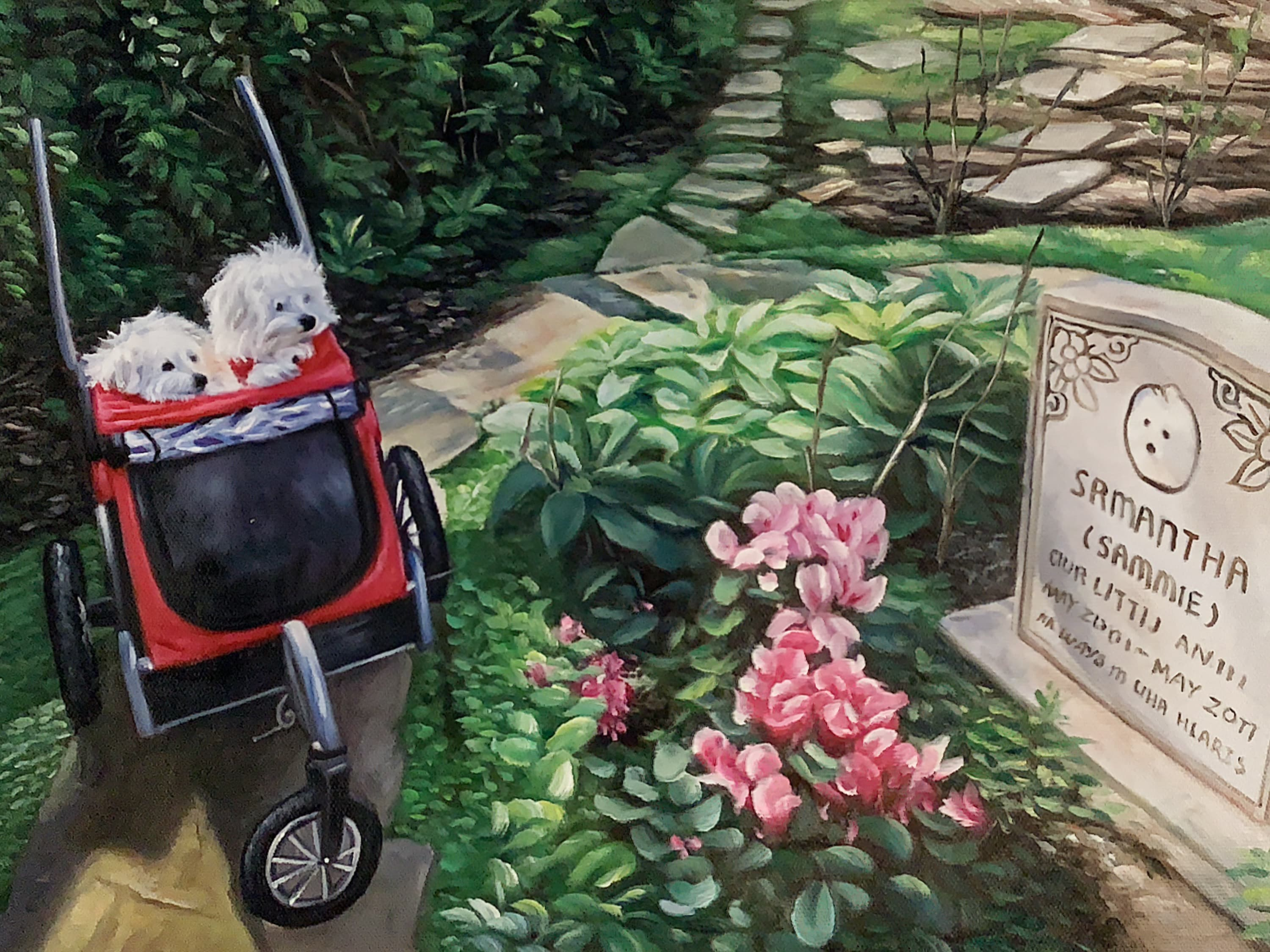 Two dogs in a stroller looking at a gravestone, as an oil painting