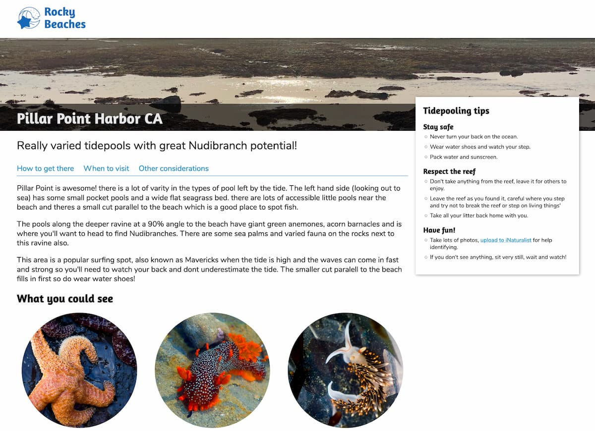 Screenshot of the Pillar Point page for Rocky Beaches