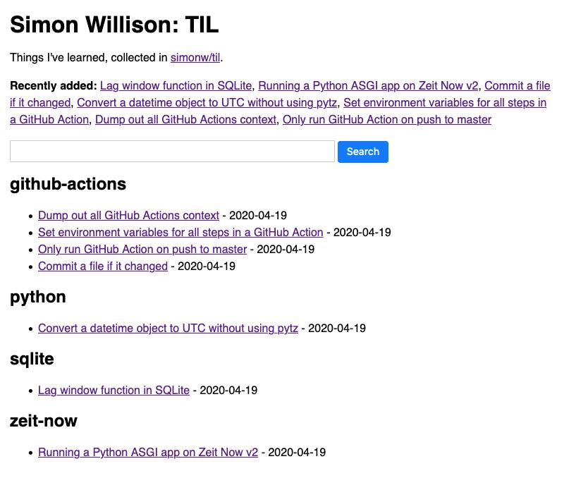 Screenshot of til.simonwillison.net