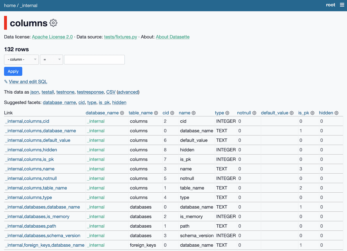Screenshot of the columns table, which has columns describing the columns that make up all of the tables.