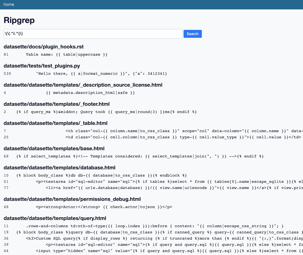 A screenshot of datasette-ripgrep in action