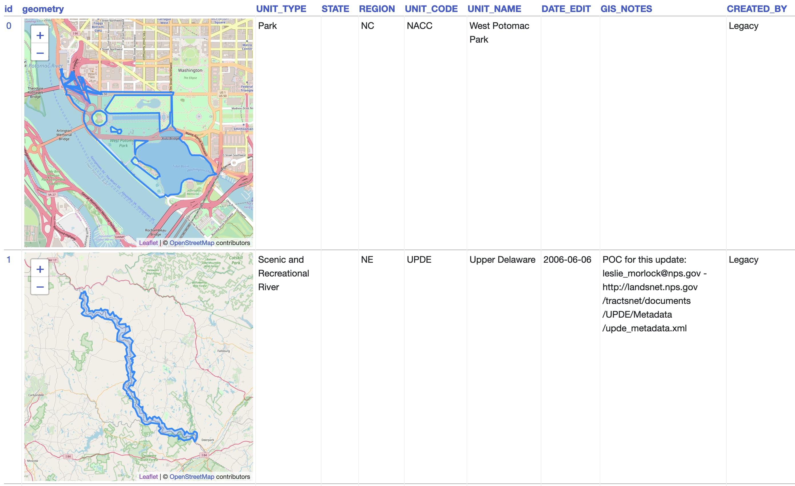 Screenshot of National Parks in Datasette