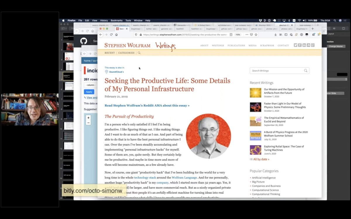 Screenshot of Stephen Wolfram's essay Seeking the Productive Life: Some Details of My Personal Infrastructure
