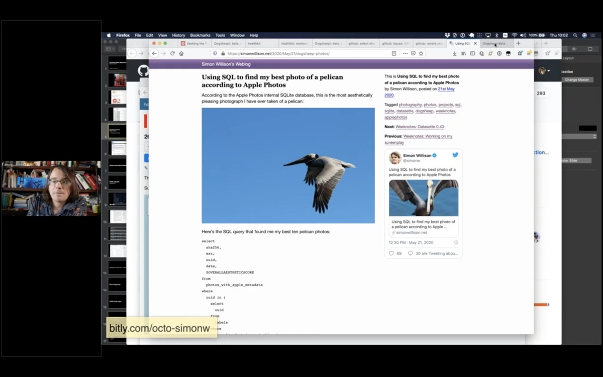 Screenshot of my blog entry about Using SQL to find my best photo of a pelican according to Apple Photos