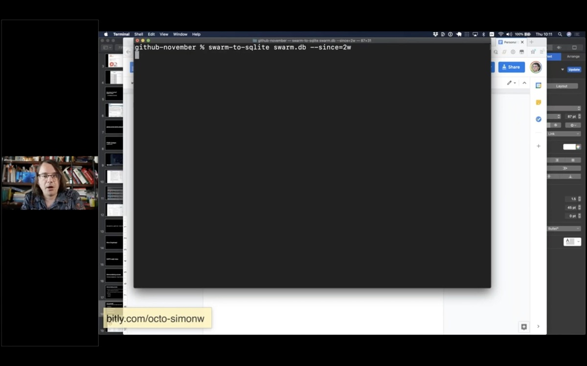 Screenshot showing how to run swarm-to-sqlite in a terminal