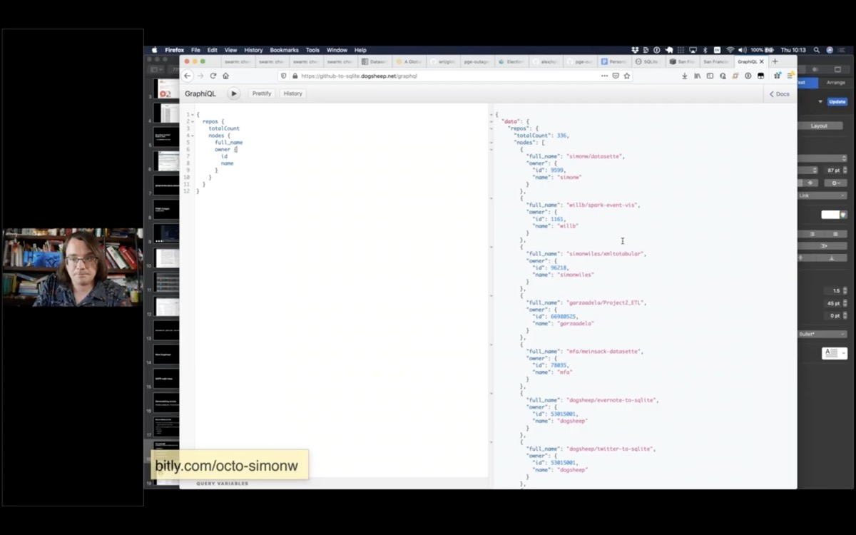 Screenshot showing the GraphiQL explorer tool running a GraphQL query against Datasette