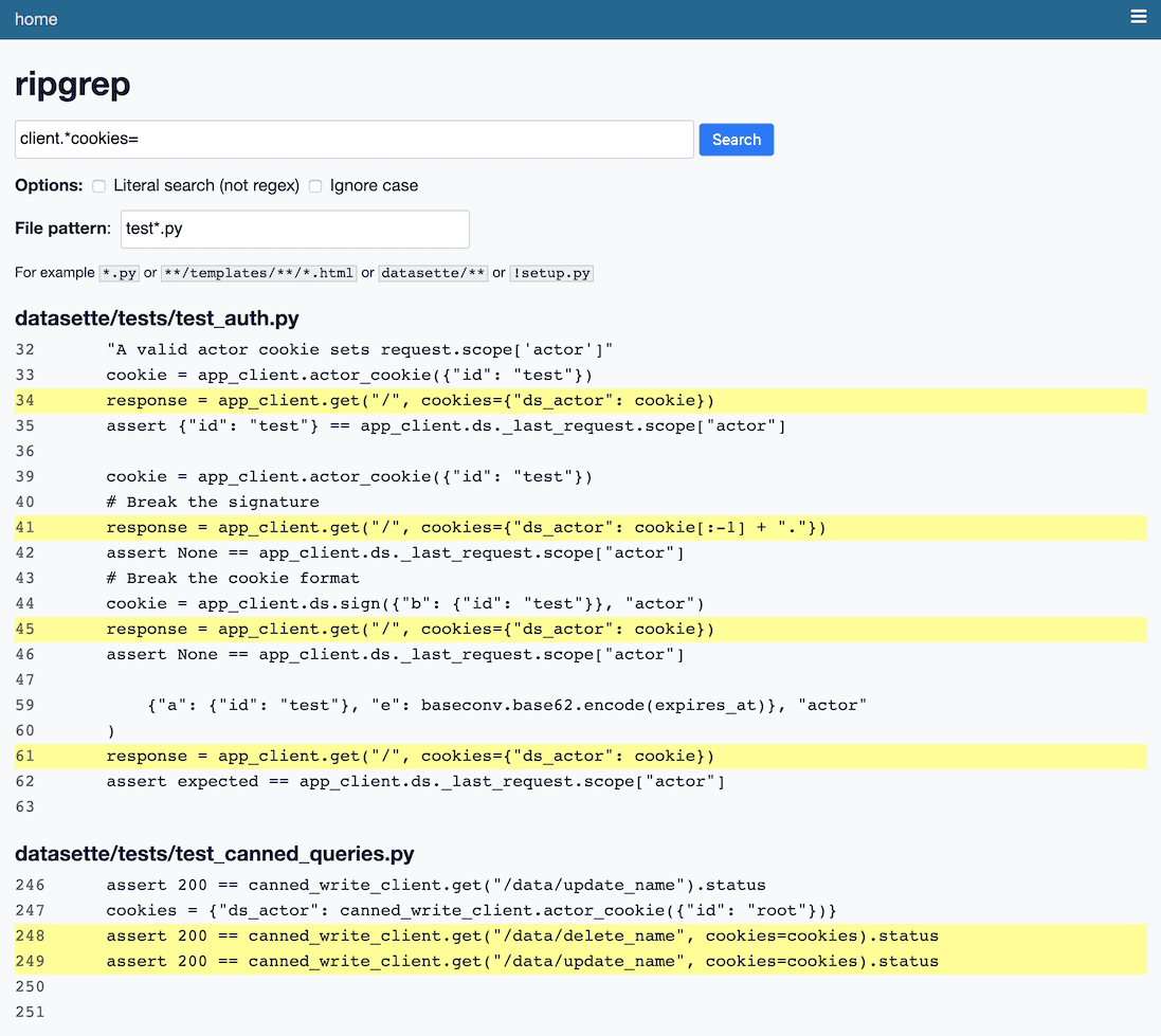 Screenshot showing search results for a client.cookies= against files matching test.py