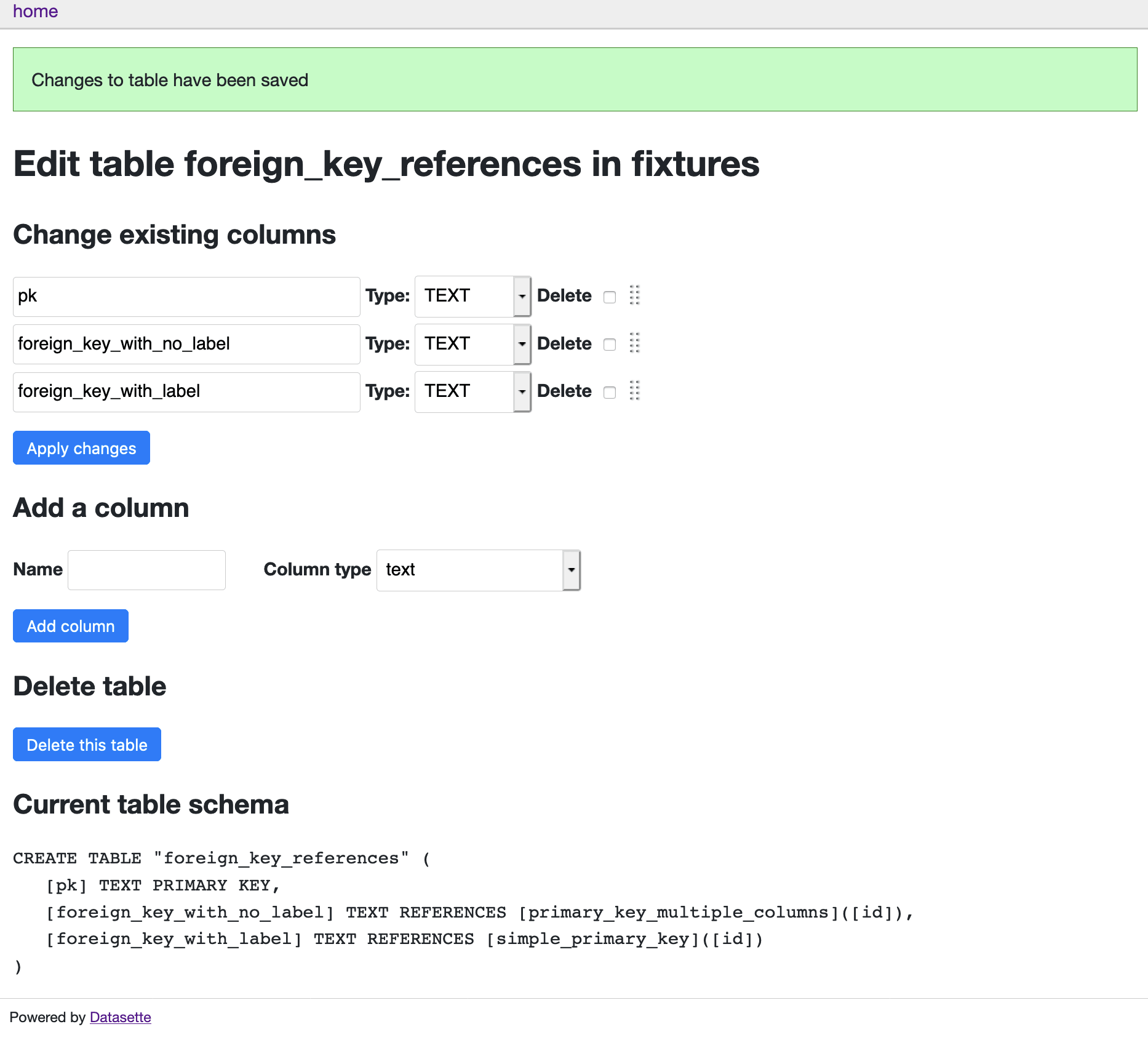 Screenshot of datasette-edit-tables showing an interface for editing and re-ordering columns