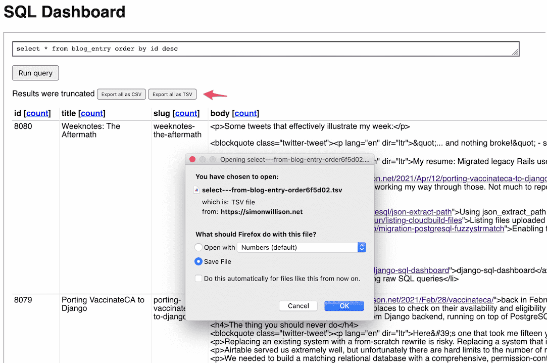 Screenshot of the SQL Dashboard interface, showing the new 'Export as CSV/TSV' buttons which trigger a file download dialog