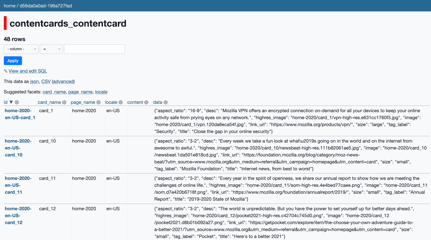 Datasette running against the Mozilla contentncards_contentcard table