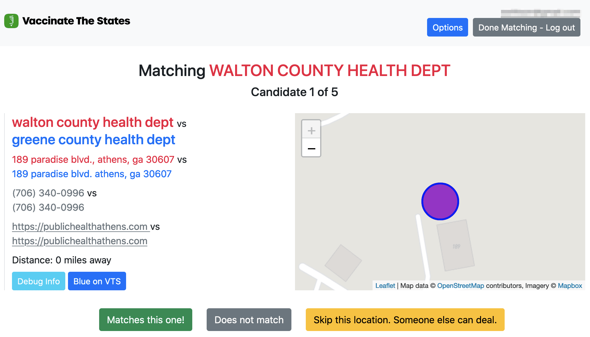 An interface showing a location and a potential match
